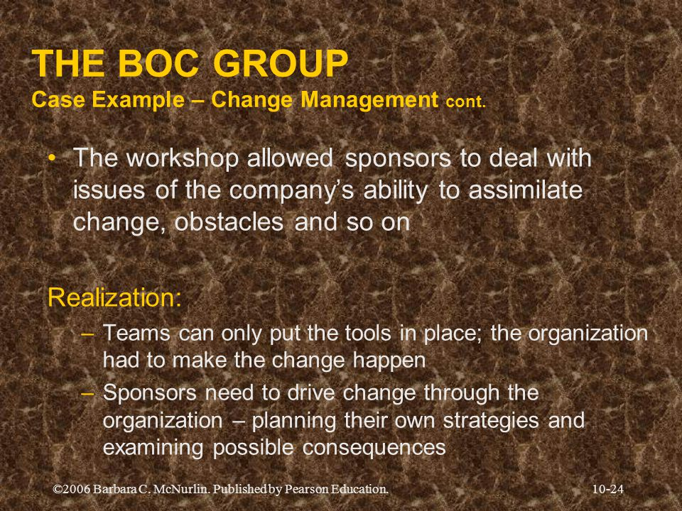 THE BOC GROUP Case Example – Change Management cont.