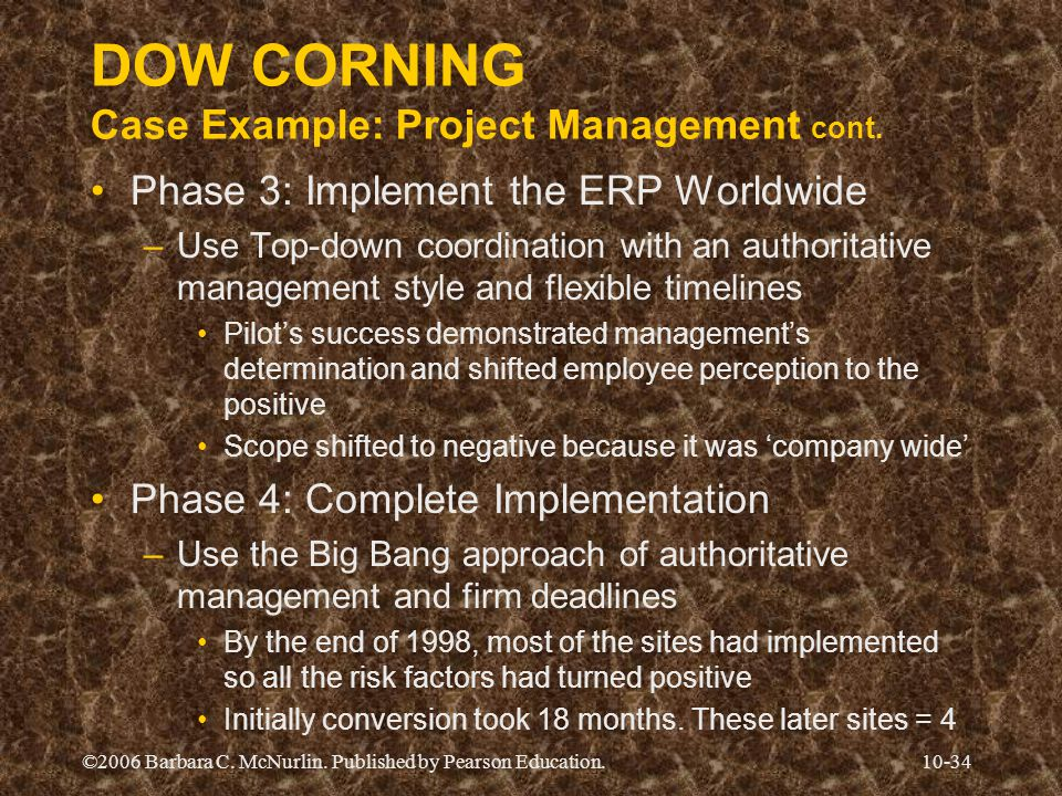 DOW CORNING Case Example: Project Management cont.