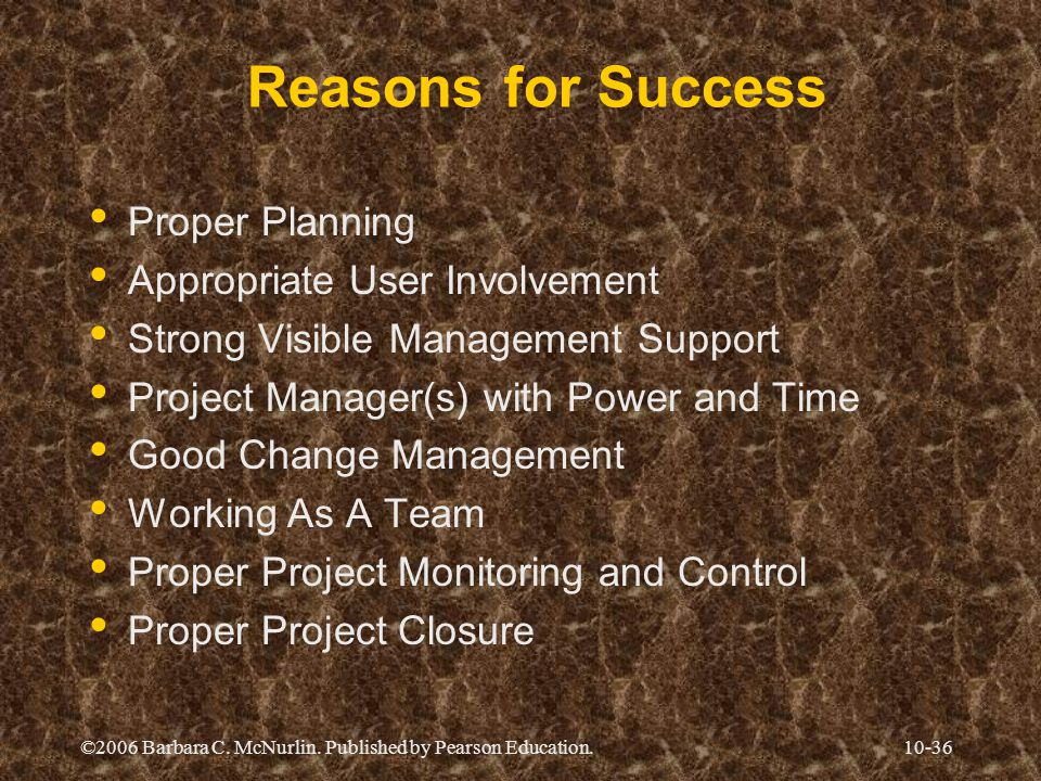 Reasons for Success Proper Planning Appropriate User Involvement