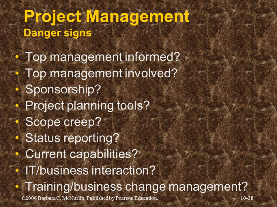 Project Management Danger signs