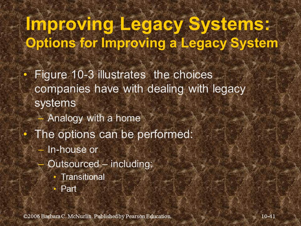 Improving Legacy Systems: Options for Improving a Legacy System