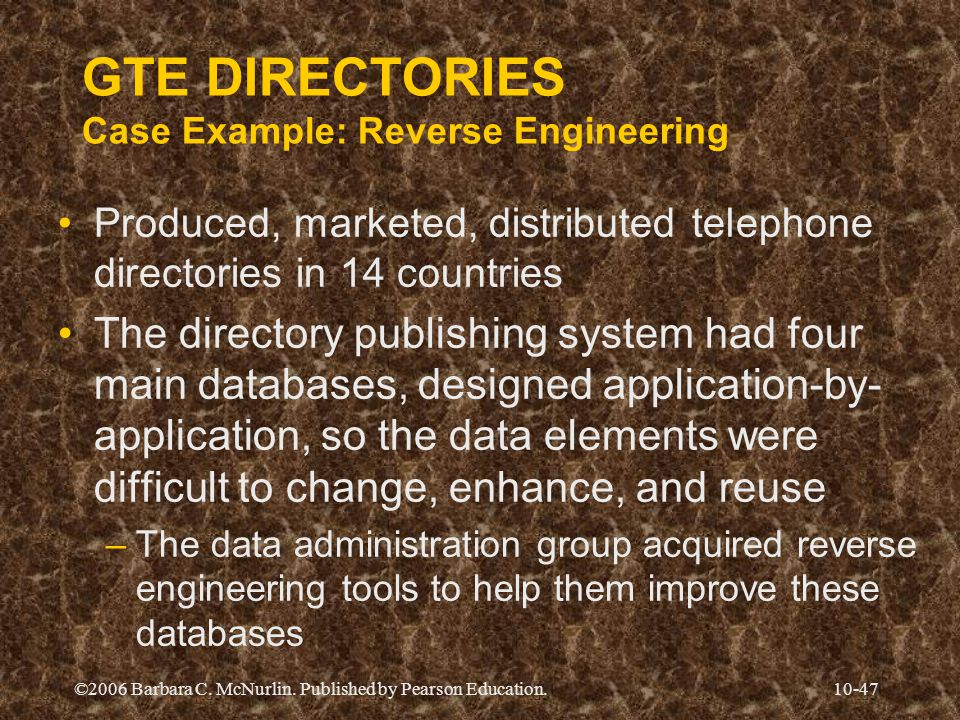 GTE DIRECTORIES Case Example: Reverse Engineering