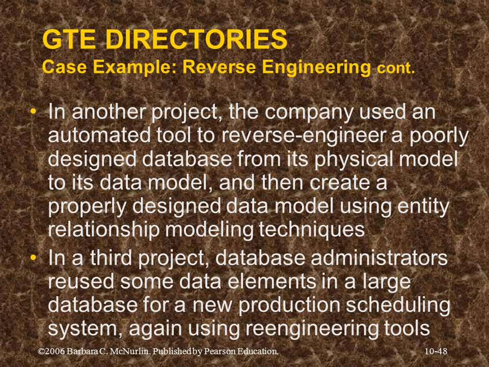 GTE DIRECTORIES Case Example: Reverse Engineering cont.