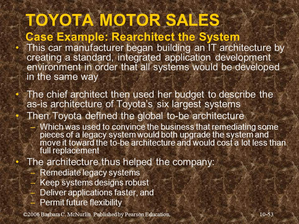 TOYOTA MOTOR SALES Case Example: Rearchitect the System