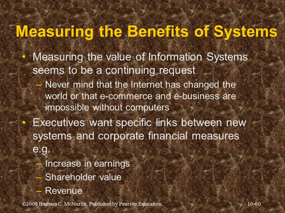 Measuring the Benefits of Systems