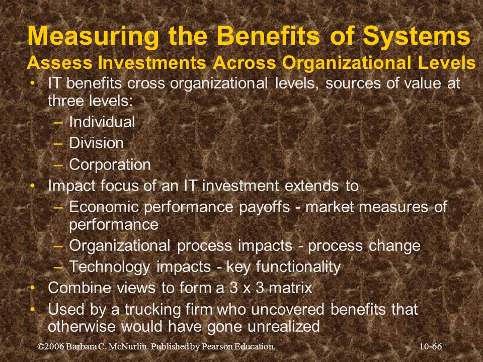 Measuring the Benefits of Systems Assess Investments Across Organizational Levels