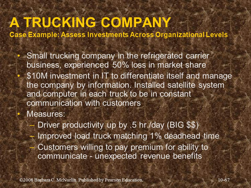 A TRUCKING COMPANY Case Example: Assess Investments Across Organizational Levels