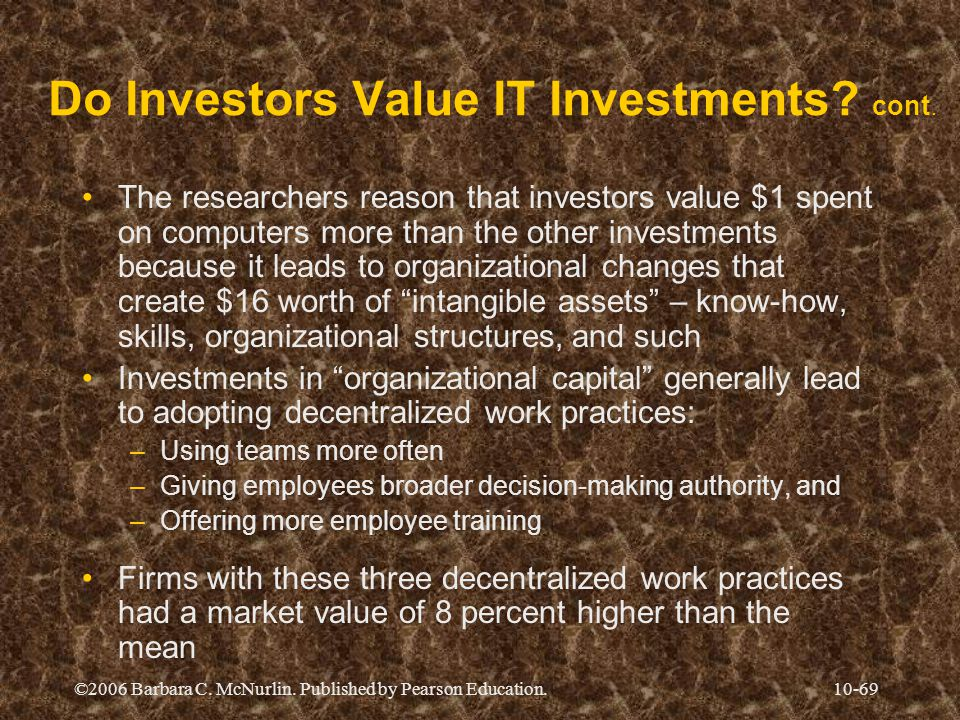 Do Investors Value IT Investments cont.