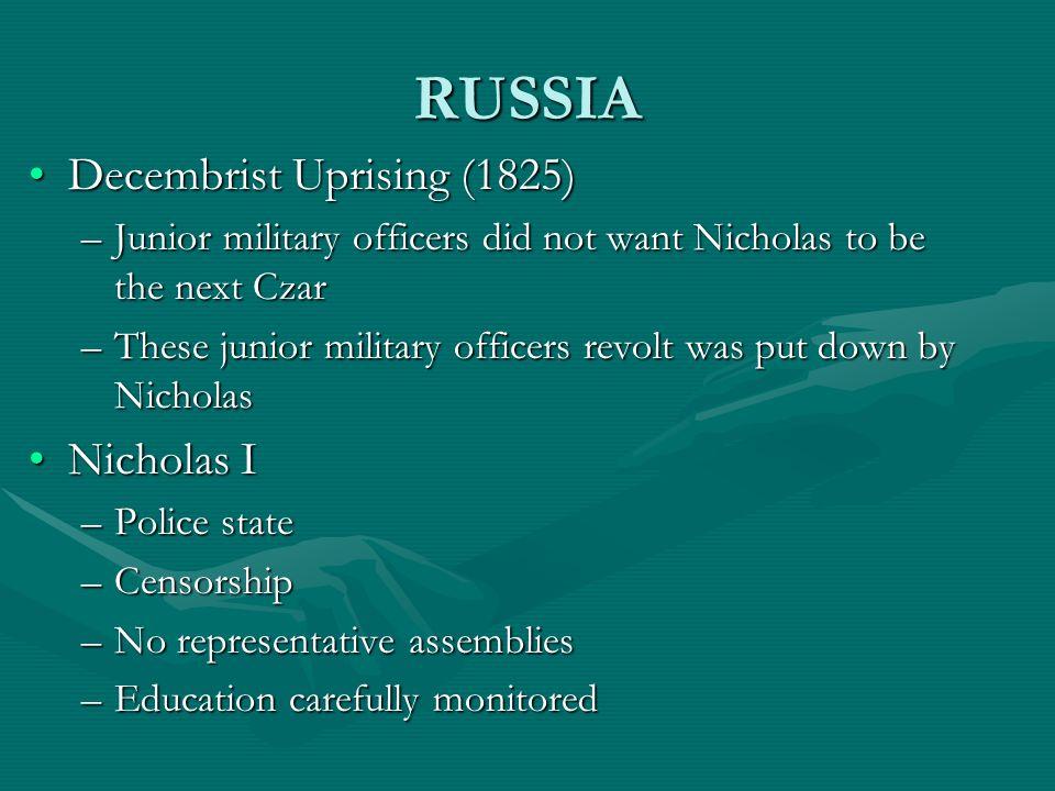 RUSSIA Decembrist Uprising (1825) Nicholas I