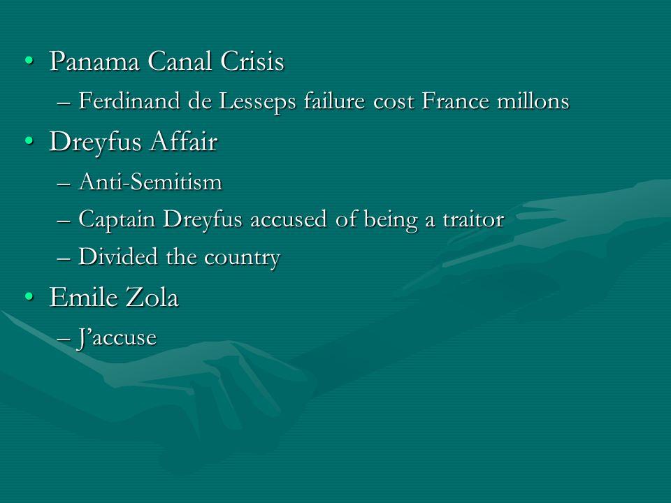 Panama Canal Crisis Dreyfus Affair Emile Zola