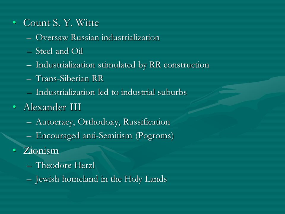 Count S. Y. Witte Alexander III Zionism