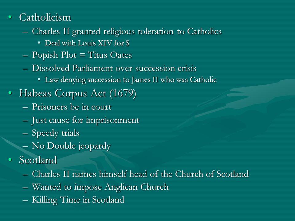 Catholicism Habeas Corpus Act (1679) Scotland