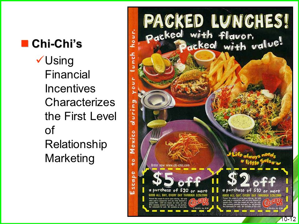 Chi-Chi's Using Financial Incentives Characterizes the First Level of Relationship Marketing
