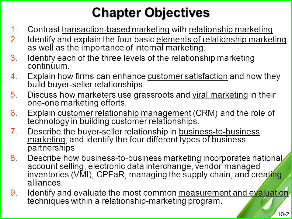 Chapter Objectives Contrast transaction-based marketing with relationship marketing.