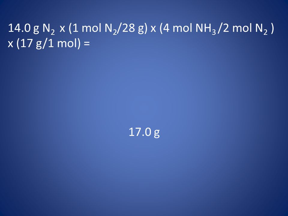 14.0 g N2 x (1 mol N2/28 g) x (4 mol NH3 /2 mol N2 ) x (17 g/1 mol) =
