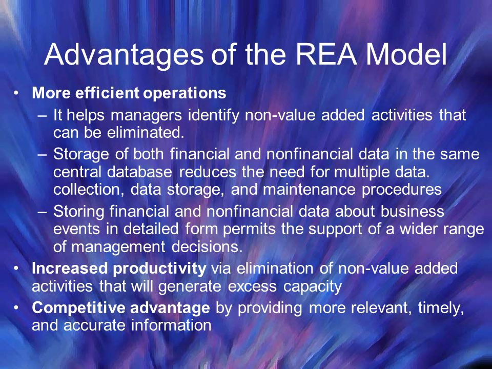 Advantages of the REA Model