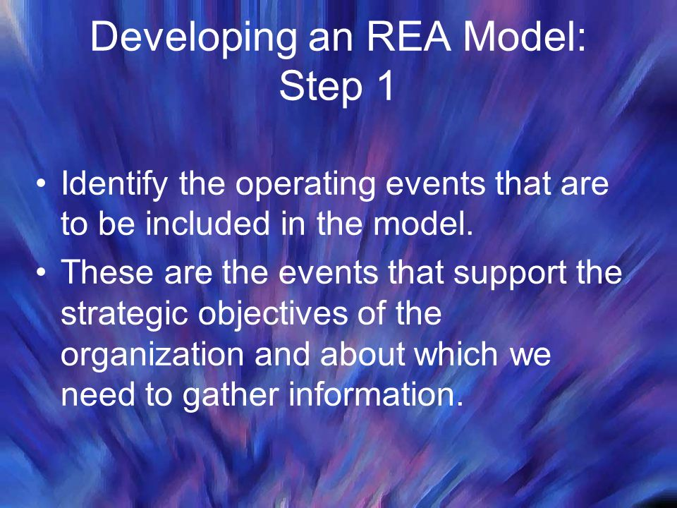 Developing an REA Model: Step 1