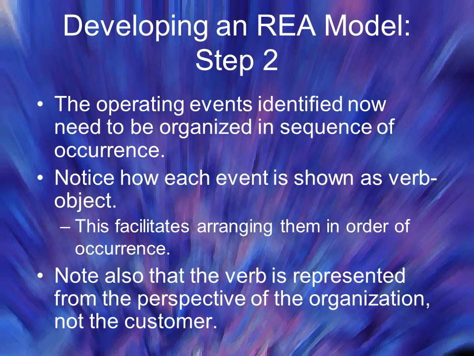 Developing an REA Model: Step 2