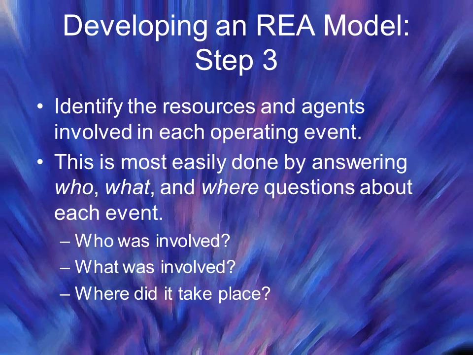 Developing an REA Model: Step 3