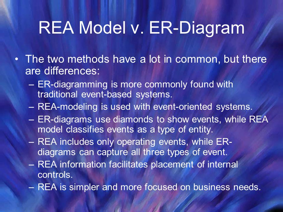 REA Model v. ER-Diagram The two methods have a lot in common, but there are differences: