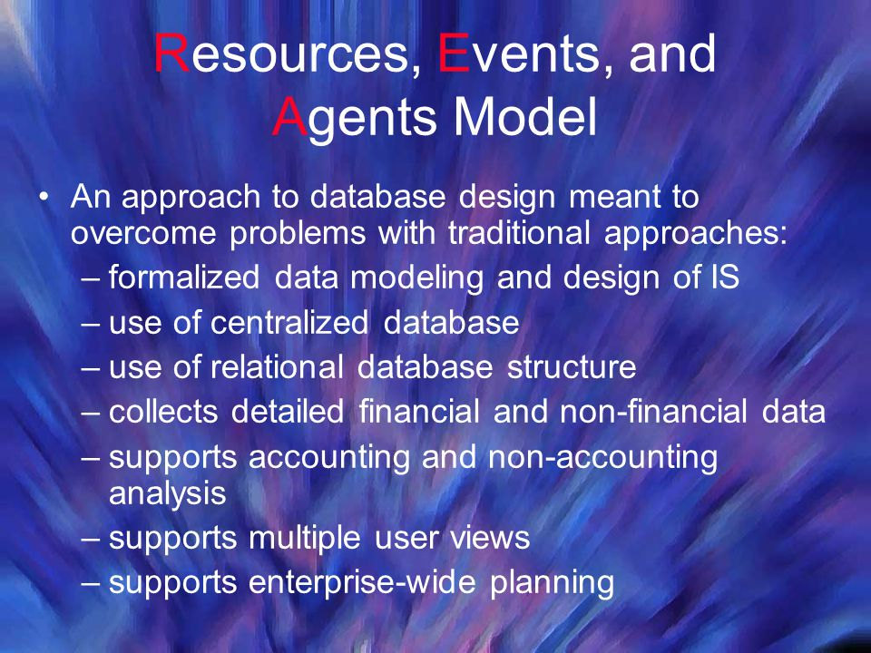 Resources, Events, and Agents Model