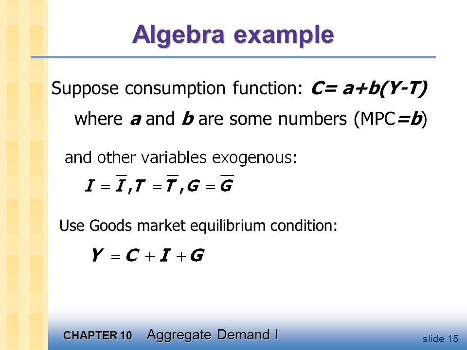 Algebra example Solve for Y: So if b=MPC=0.75, multiplier =