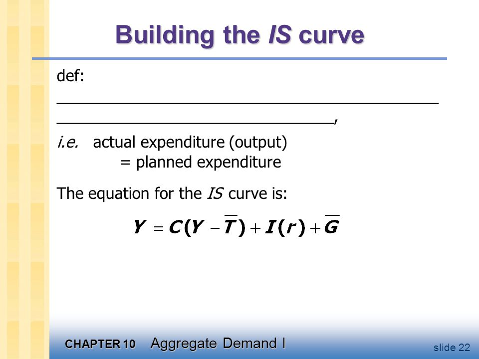 Deriving the IS curve r       E =C +I (r2 )+G E =C +I (r1 )+G