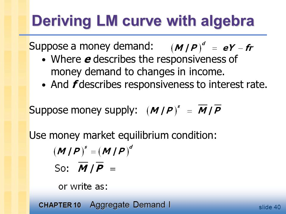 Graph the LM curve r. LM. Y. A steep LM curve (_________) means that a rise in output implies a ______________ to maintain equilibrium.