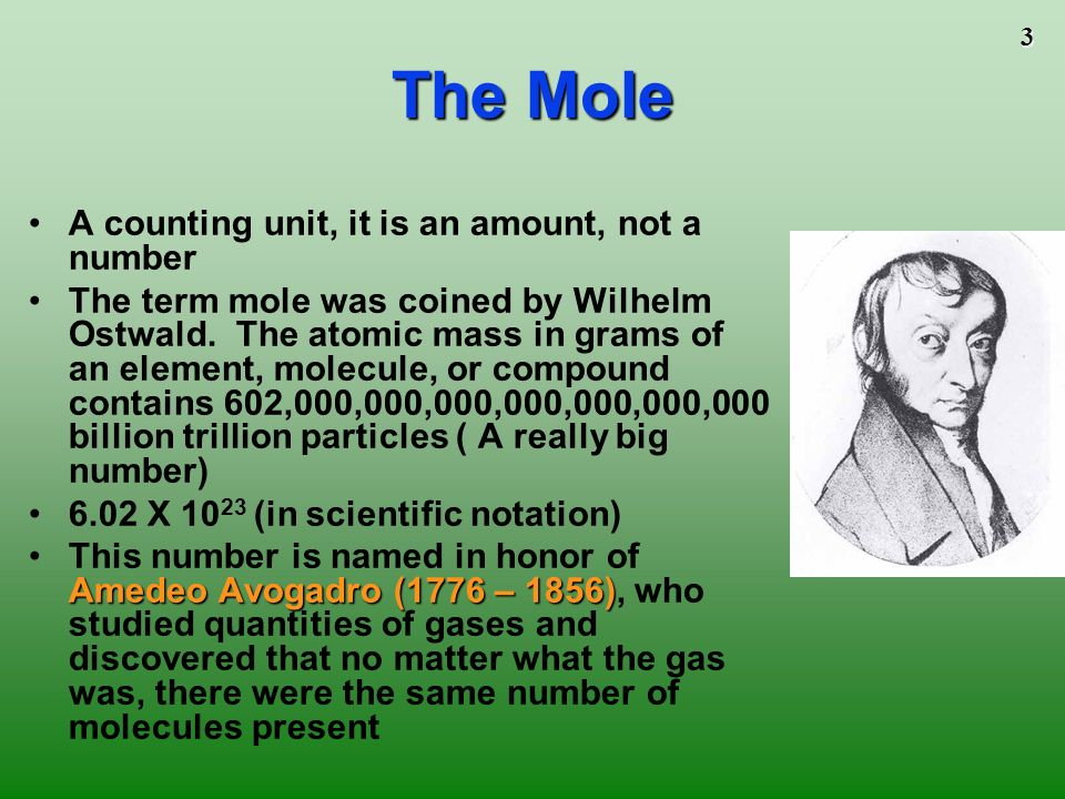 The Mole A counting unit, it is an amount, not a number