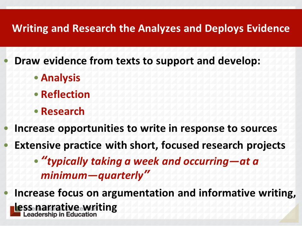 Writing and Research the Analyzes and Deploys Evidence