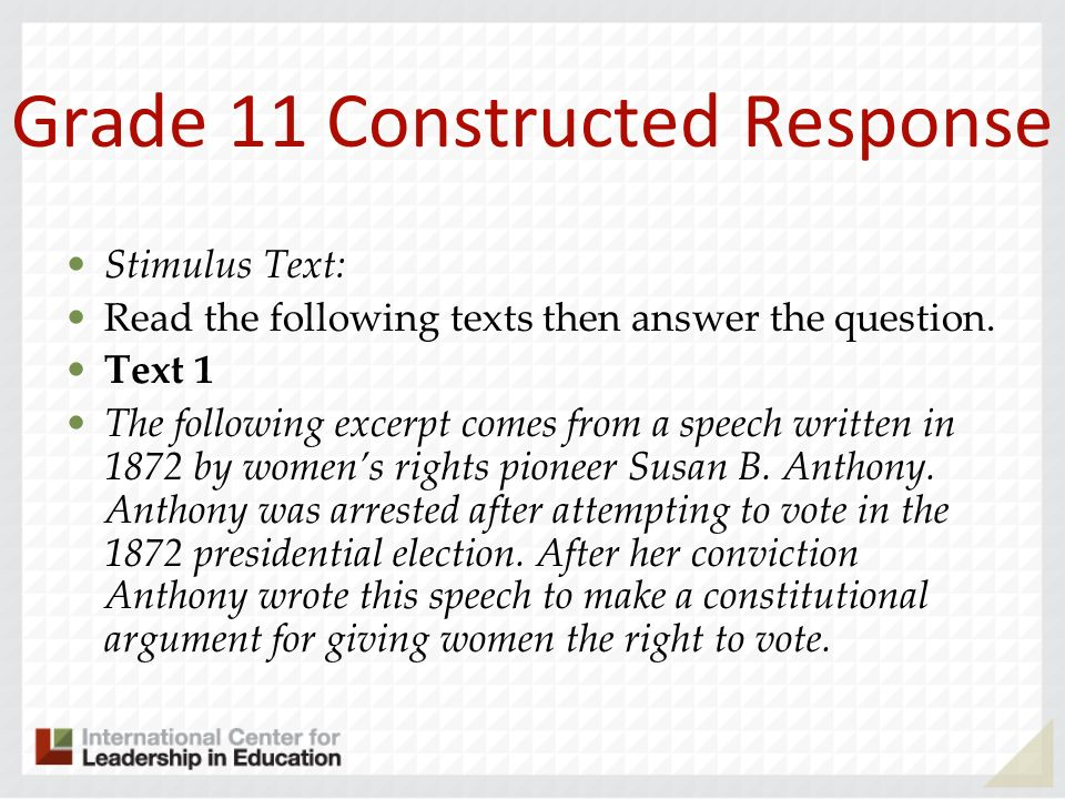 Grade 11 Constructed Response