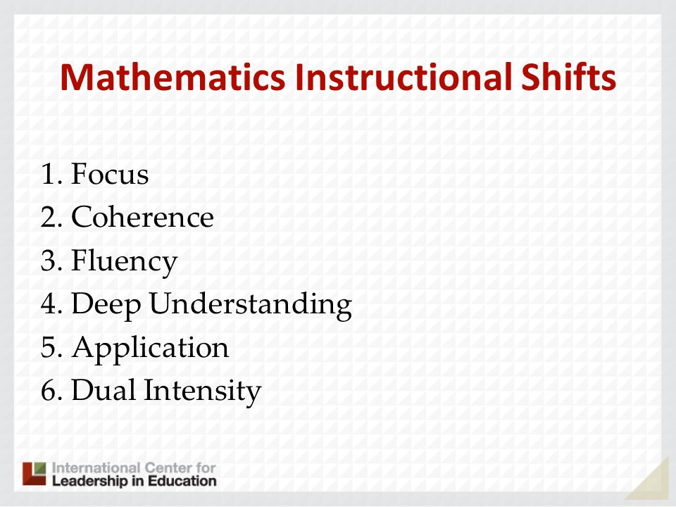 Mathematics Instructional Shifts