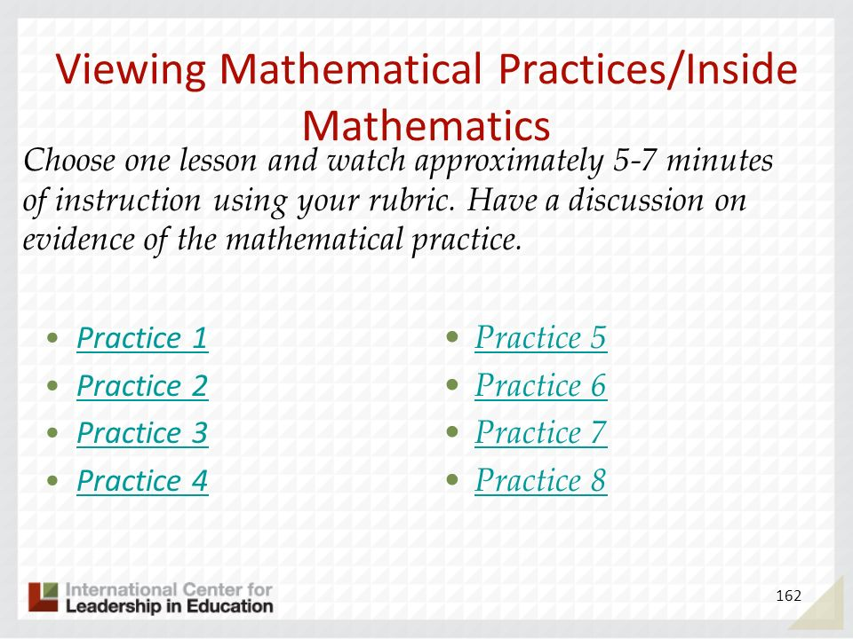 Viewing Mathematical Practices/Inside Mathematics