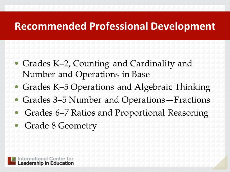 Recommended Professional Development