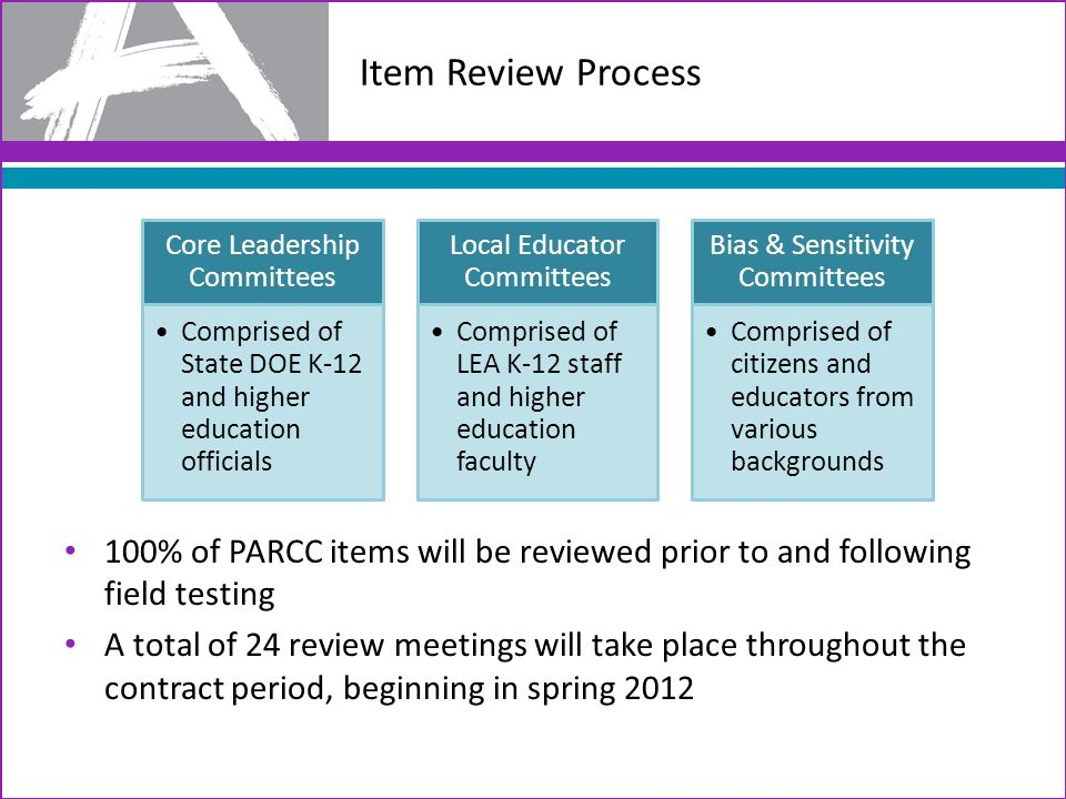 Item Review Process Core Leadership Committees. Comprised of State DOE K-12 and higher education officials.
