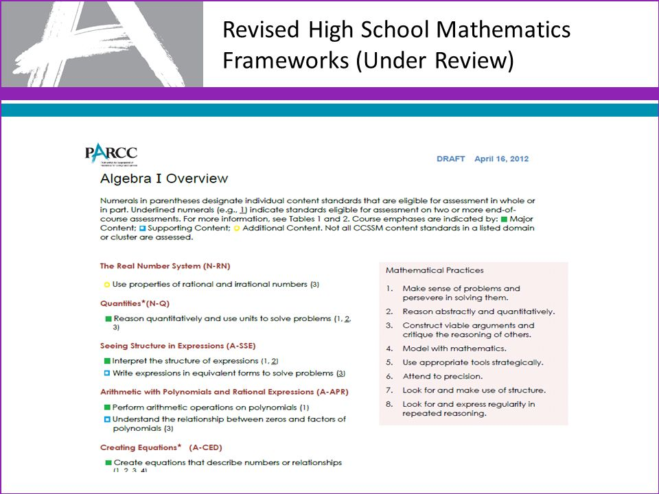 Revised High School Mathematics Frameworks (Under Review)