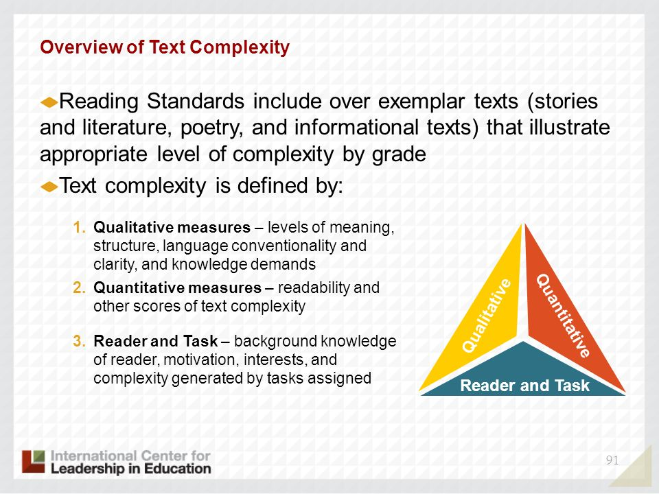 Text complexity is defined by:
