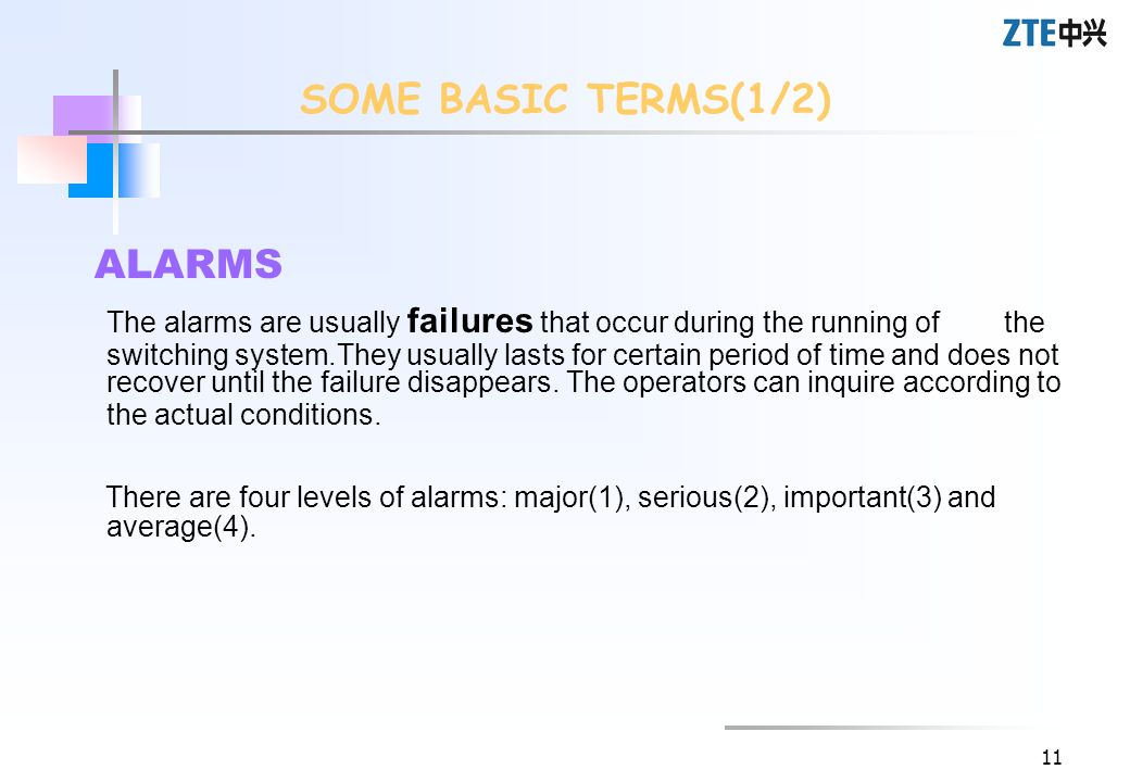 SOME BASIC TERMS(1/2) ALARMS.