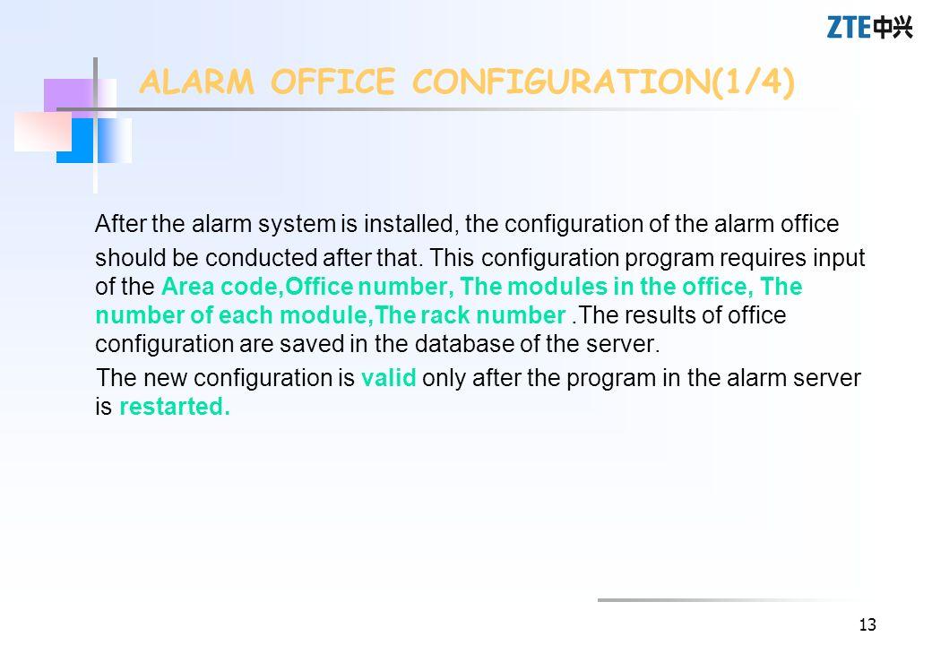 ALARM OFFICE CONFIGURATION(1/4)