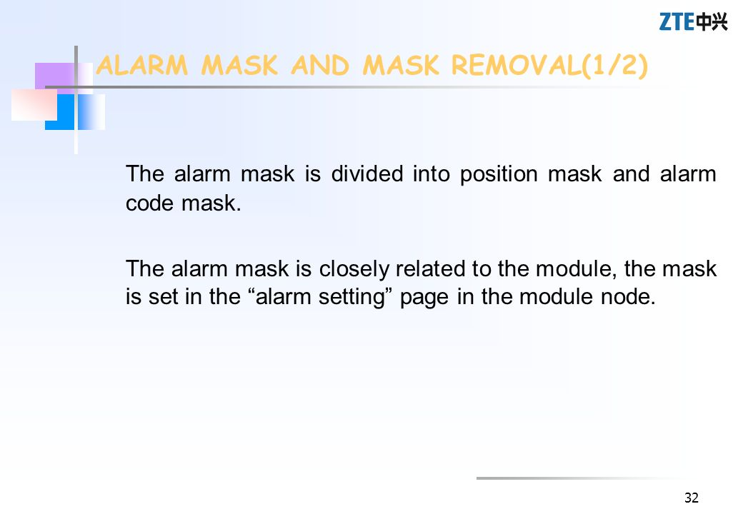 ALARM MASK AND MASK REMOVAL(1/2)