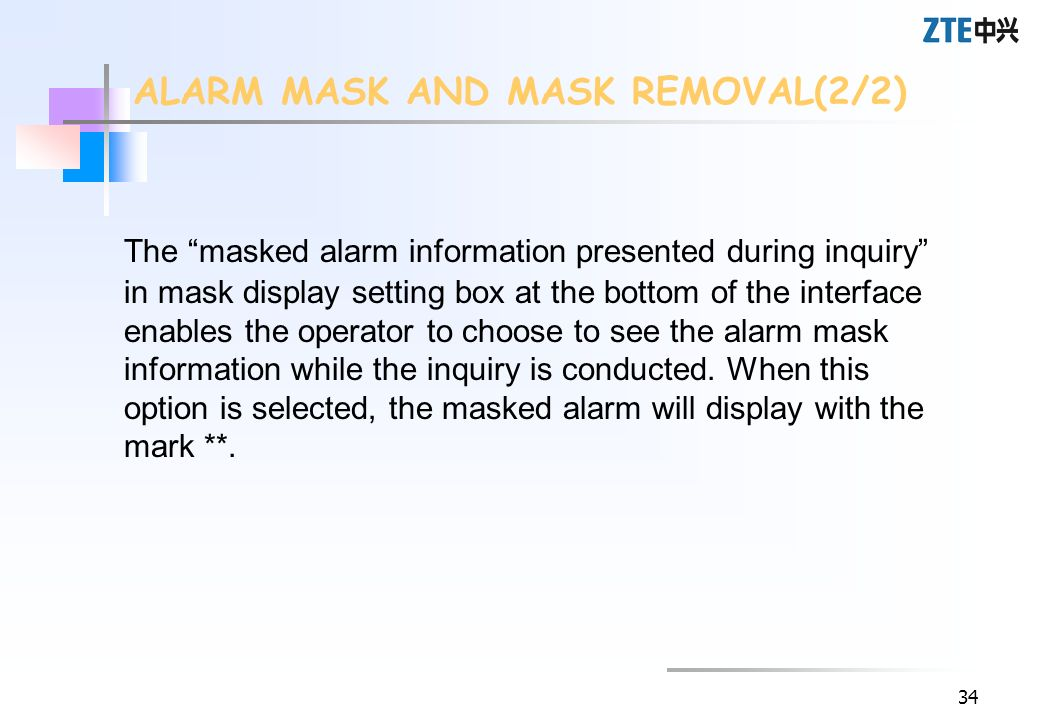 ALARM MASK AND MASK REMOVAL(2/2)