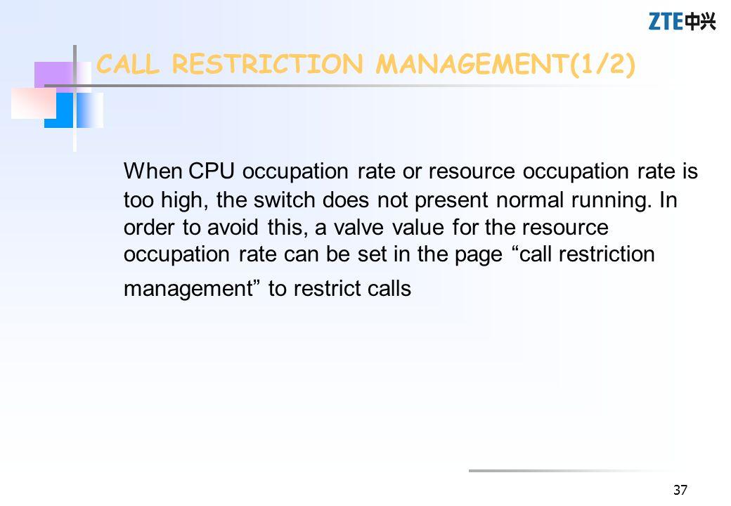 CALL RESTRICTION MANAGEMENT(1/2)