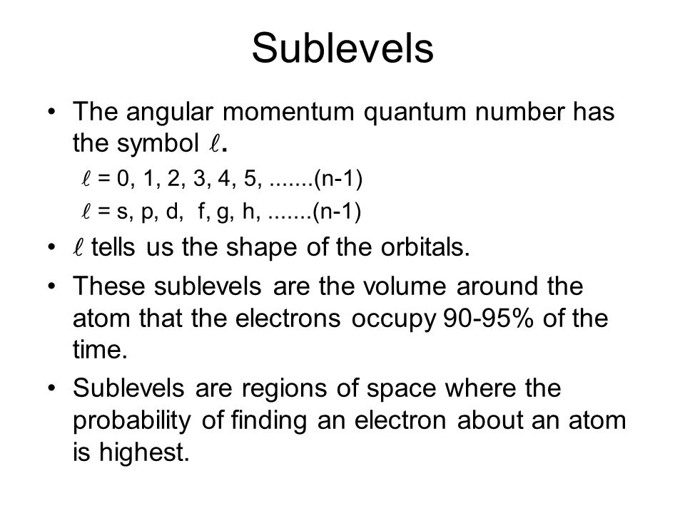 Sublevels The angular momentum quantum number has the symbol .