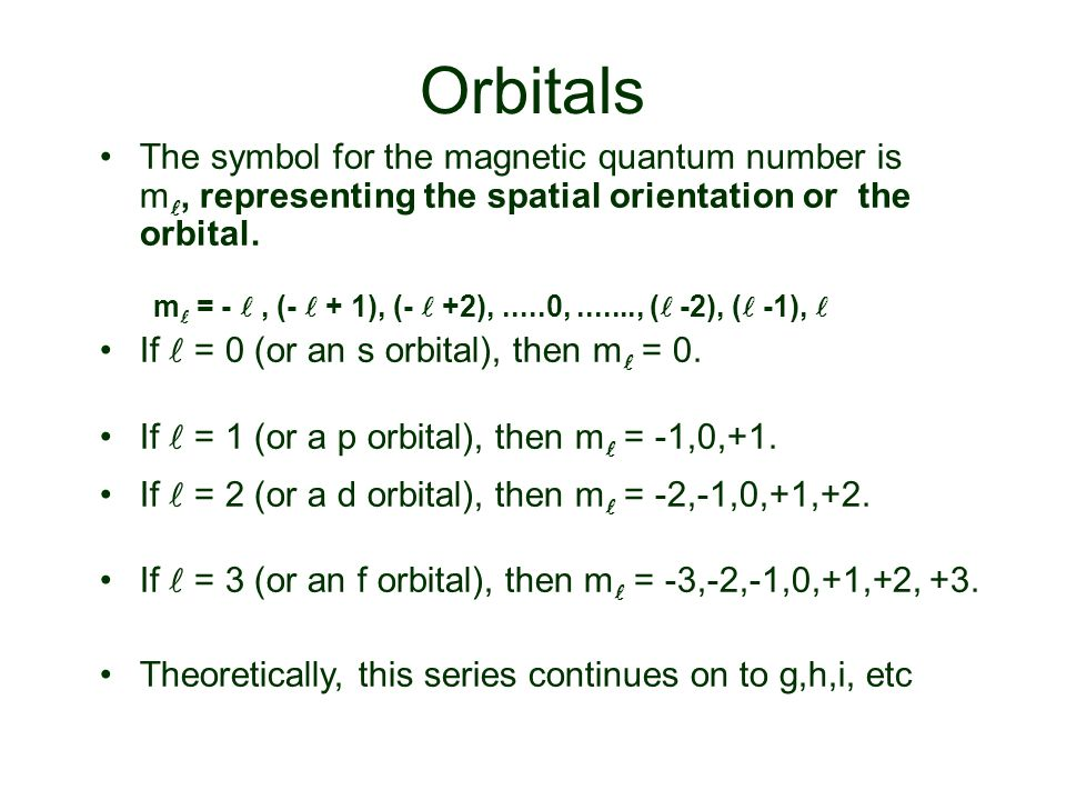 Orbitals The symbol for the magnetic quantum number is m, representing the spatial orientation or the orbital.