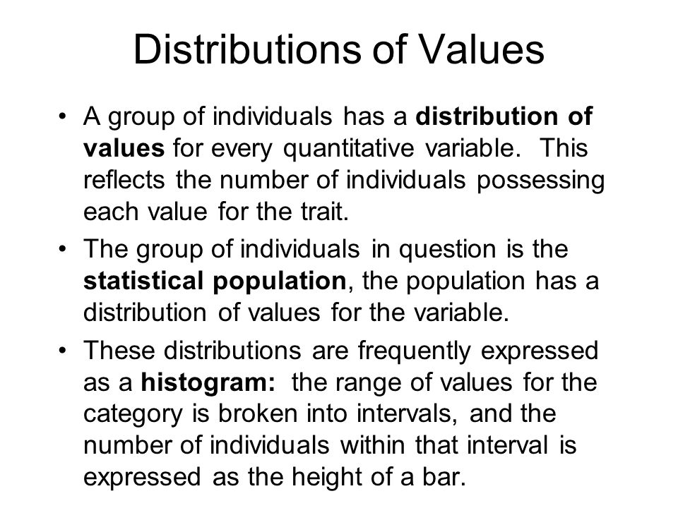 Distributions of Values