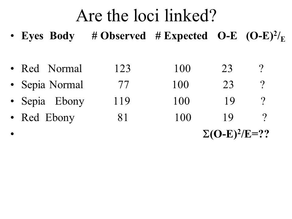 Are the loci linked Eyes Body # Observed # Expected O-E (O-E)2/E