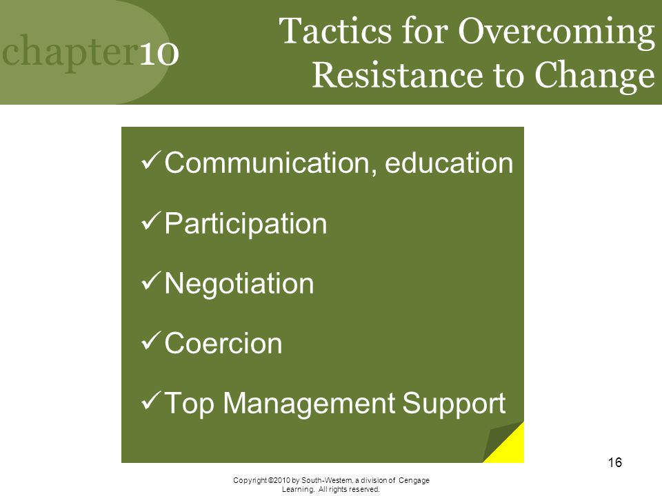 Tactics for Overcoming Resistance to Change