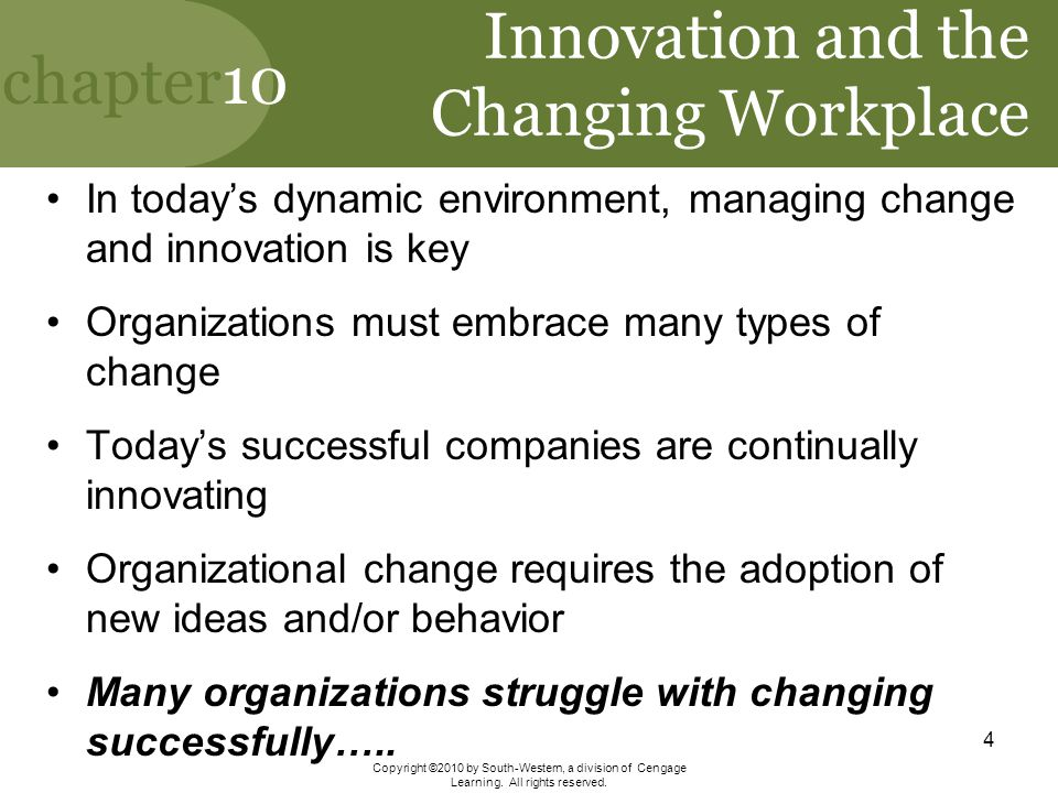 Innovation and the Changing Workplace