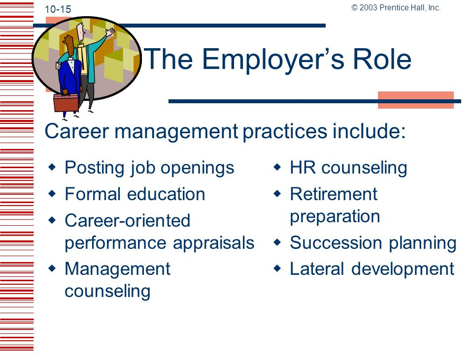 The Employer's Role Career management practices include: