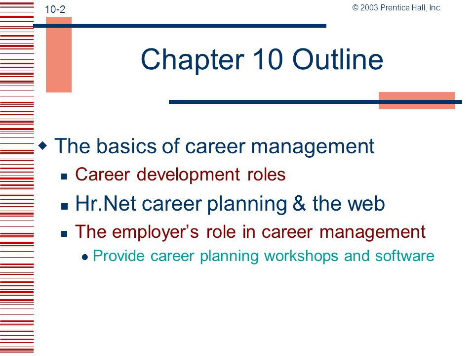 Chapter 10 Outline The basics of career management